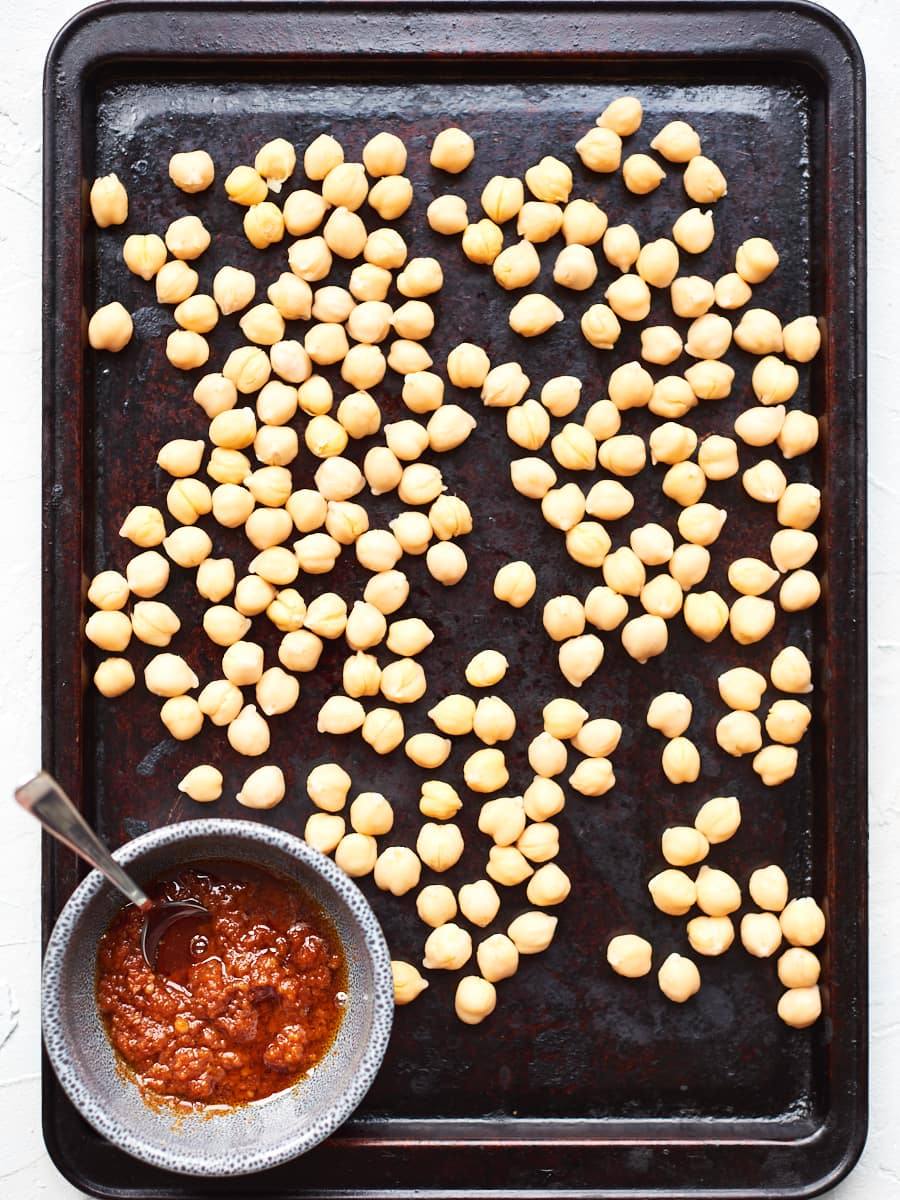 Chickpeas on baking tray