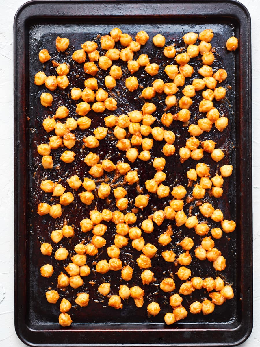 Chickpeas with coating on baking tray