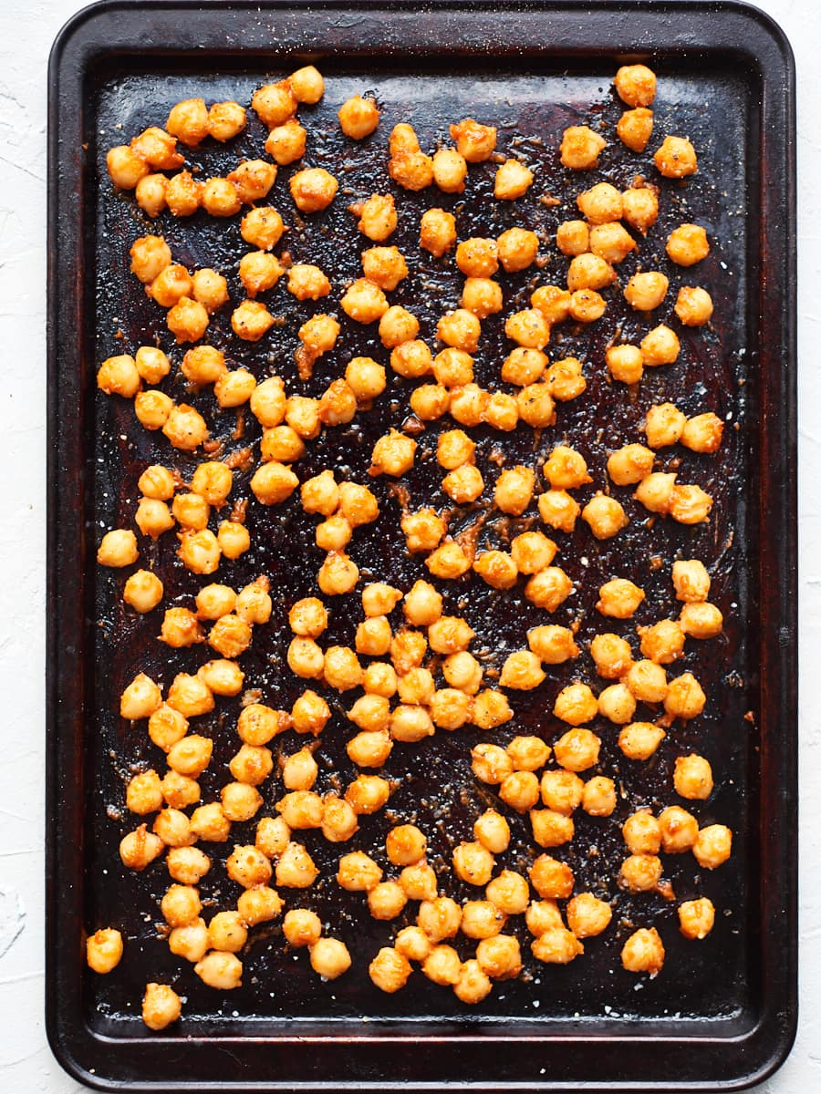 Chickpeas with coating on baking tray 2