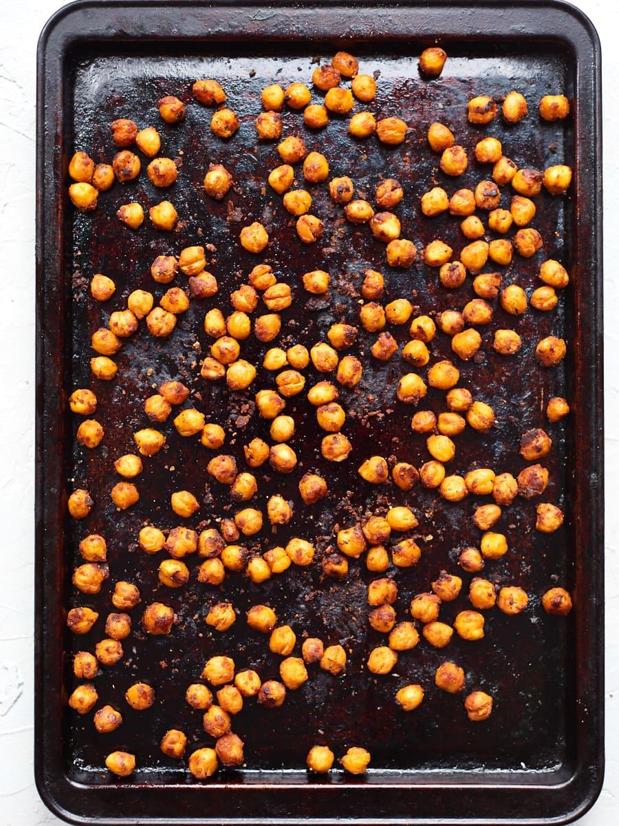 Crispy Miso roasted chickpeas on tray
