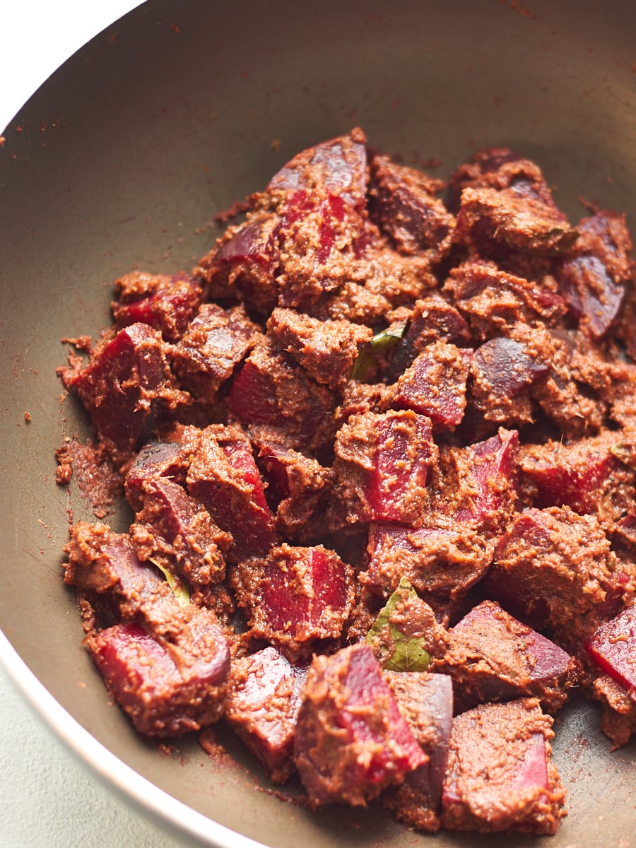 Cooking beetroot curry 1