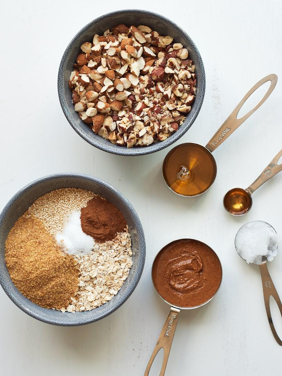 ingredients for homemade quinoa granola
