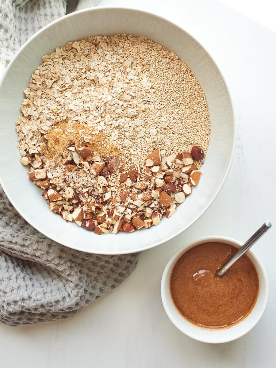 Ingredients for homemade quinoa granola 2