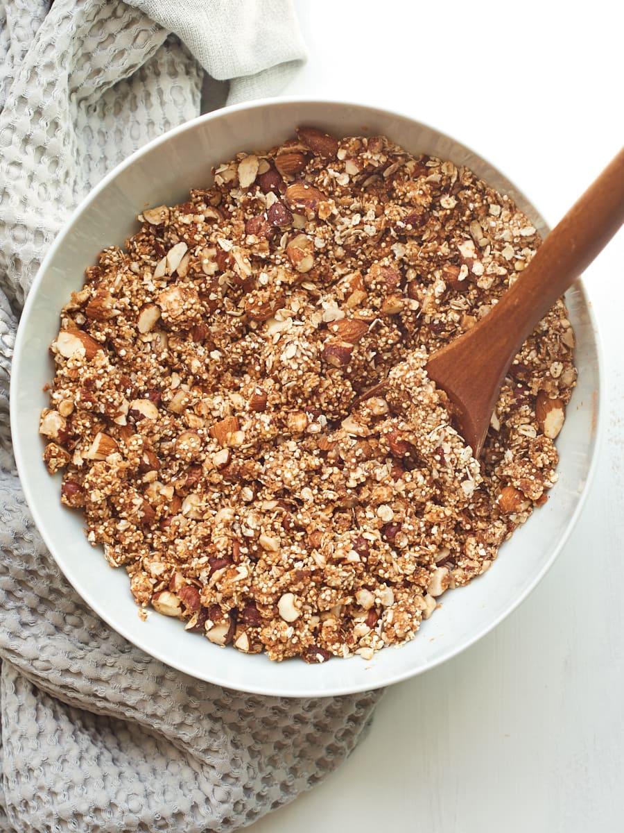 mixed ingredients for homemade quinoa granola