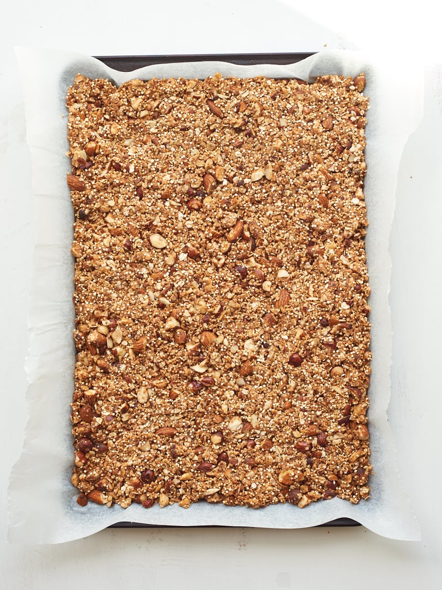raw granola ready for oven