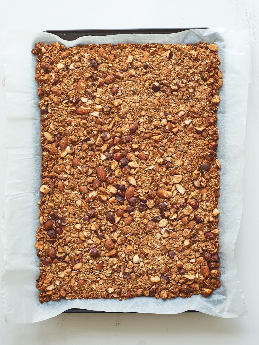 cooked granola in pan
