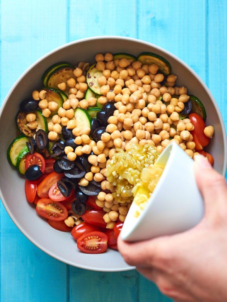 Ingredients for Mediterranean Pasta Salad in Bowl