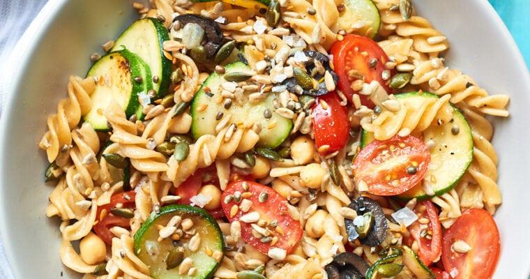 Vegan Pasta Salad with Mediterranean Vegetables