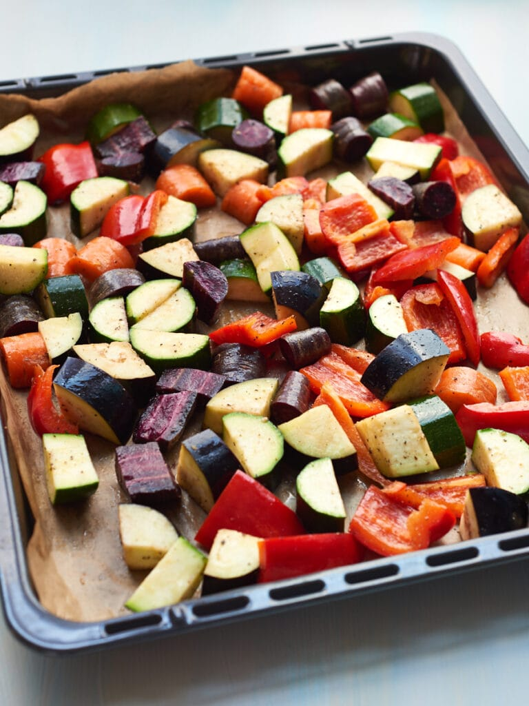 Tray of vegetables for tagine