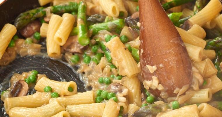 Creamy Mushroom Pasta with Pea and Asparagus- Vegan and Nut Free