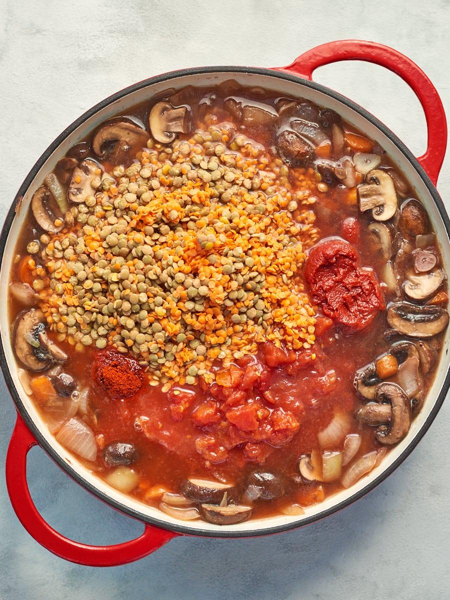 Cooking Mushroom and Lentil Ragu