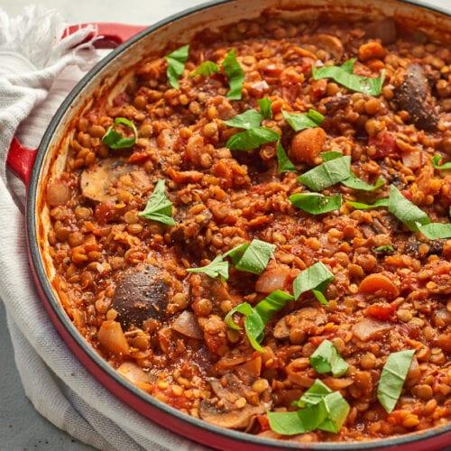 Mushroom and Lentil Ragu in Pan