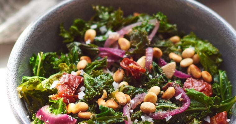 Sauteed Kale with Garlic and Toasted Pine Nuts