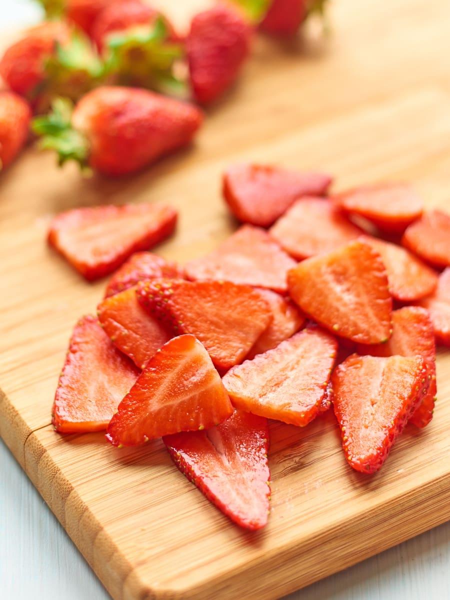 Strawberries on chopping board