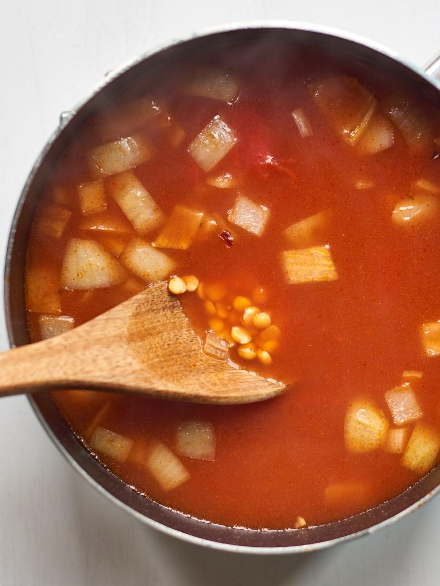 Stirring split pea soup 1
