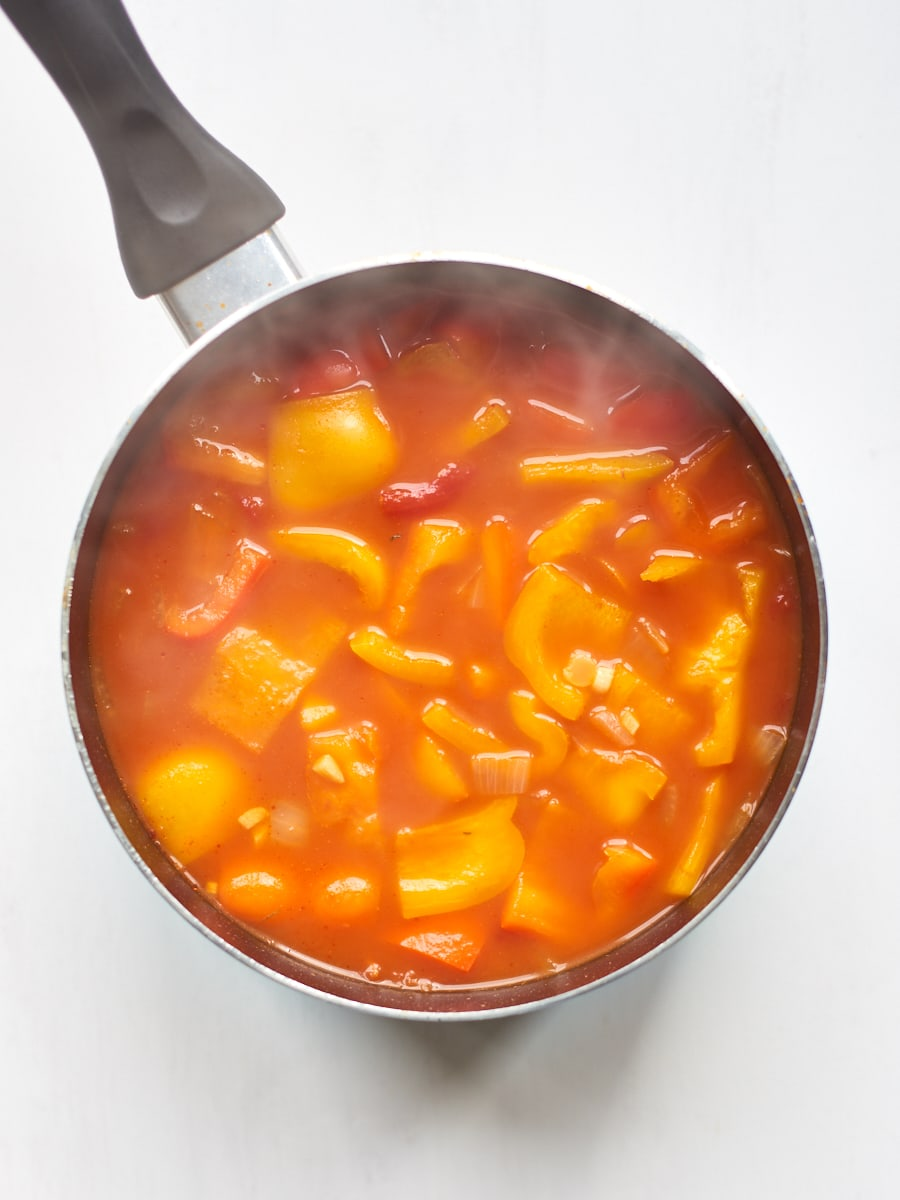 Soup steaming in pan