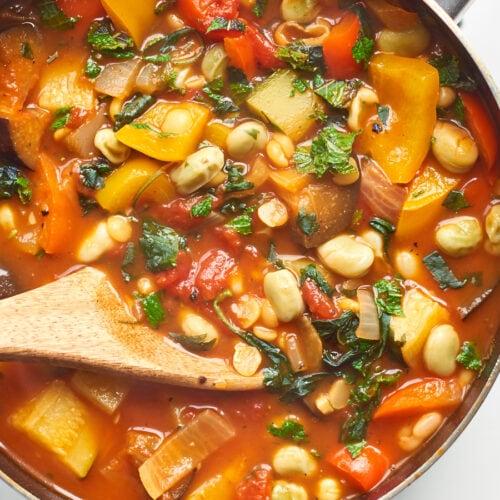 Summer split pea soup cooking in pan 4