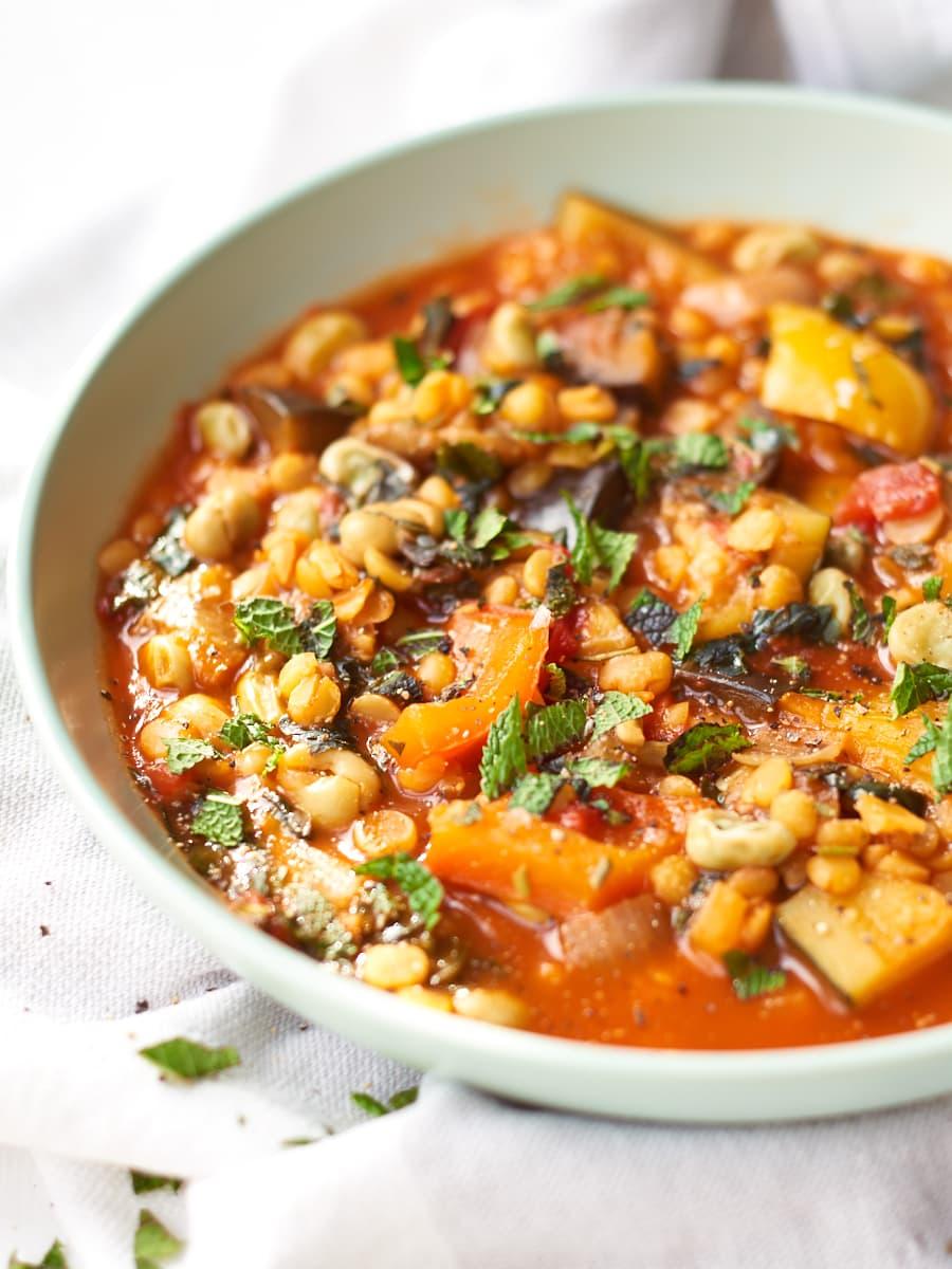 Summer split pea soup in bowl 1