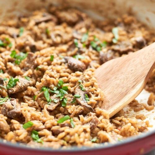 Mushroom risotto in pan