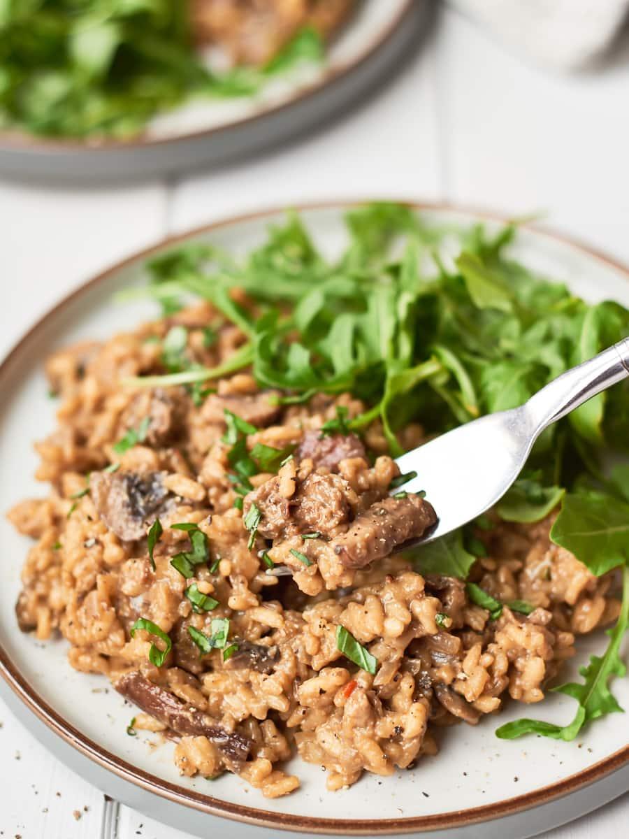 Mushroom risotto on plate 4
