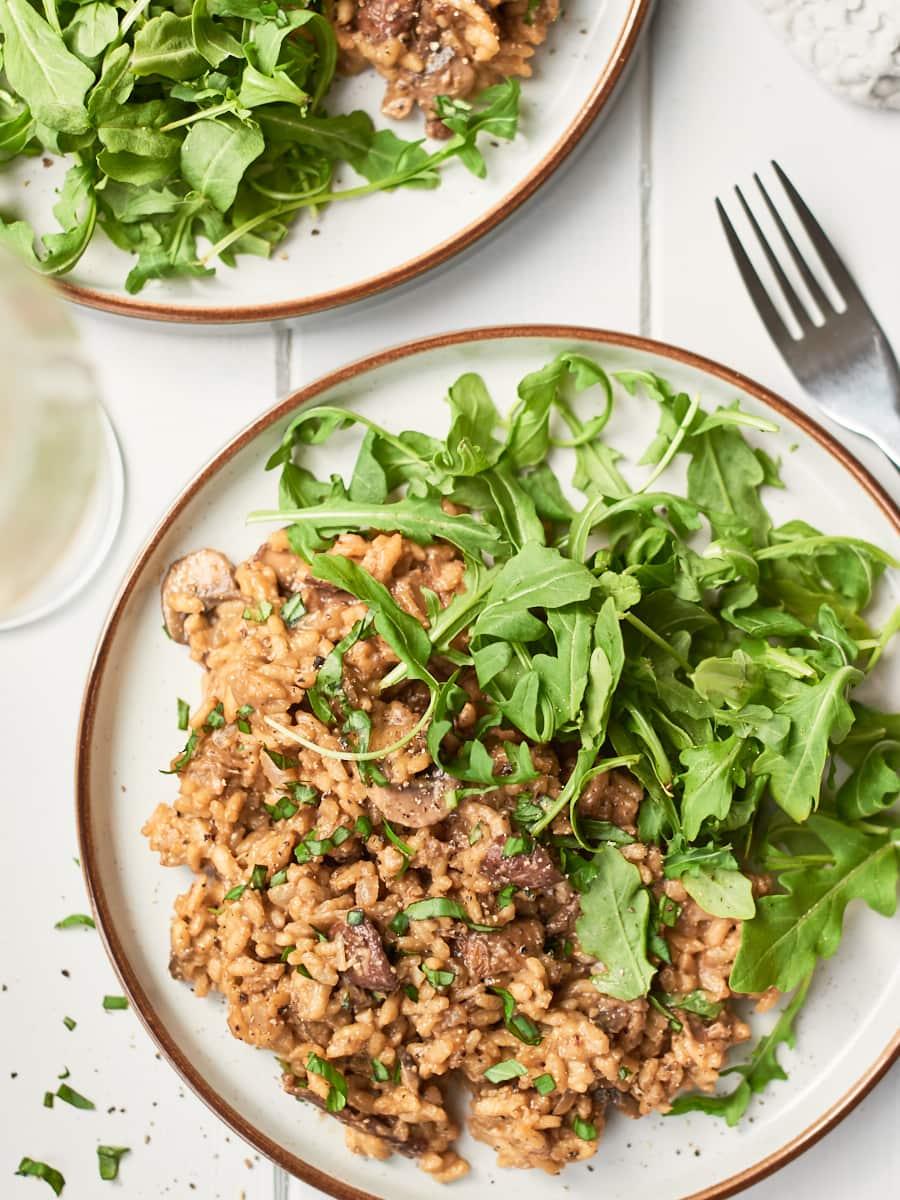 Mushroom risotto on plate 3