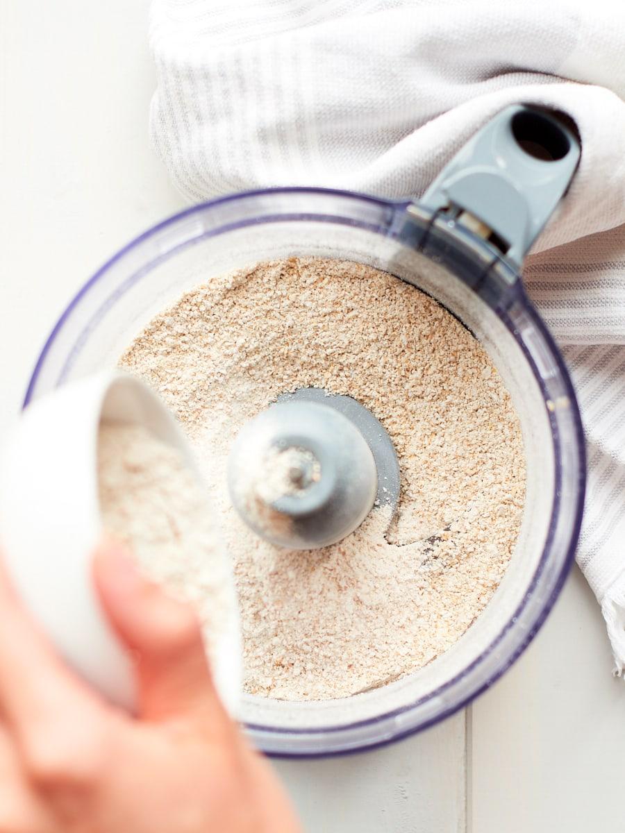 Adding spelt flour to food processor