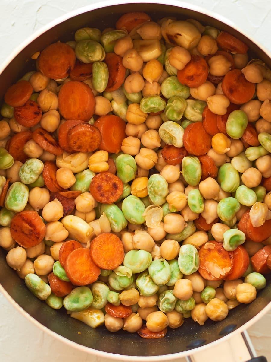 Ingrdients for homemade hummus in pan