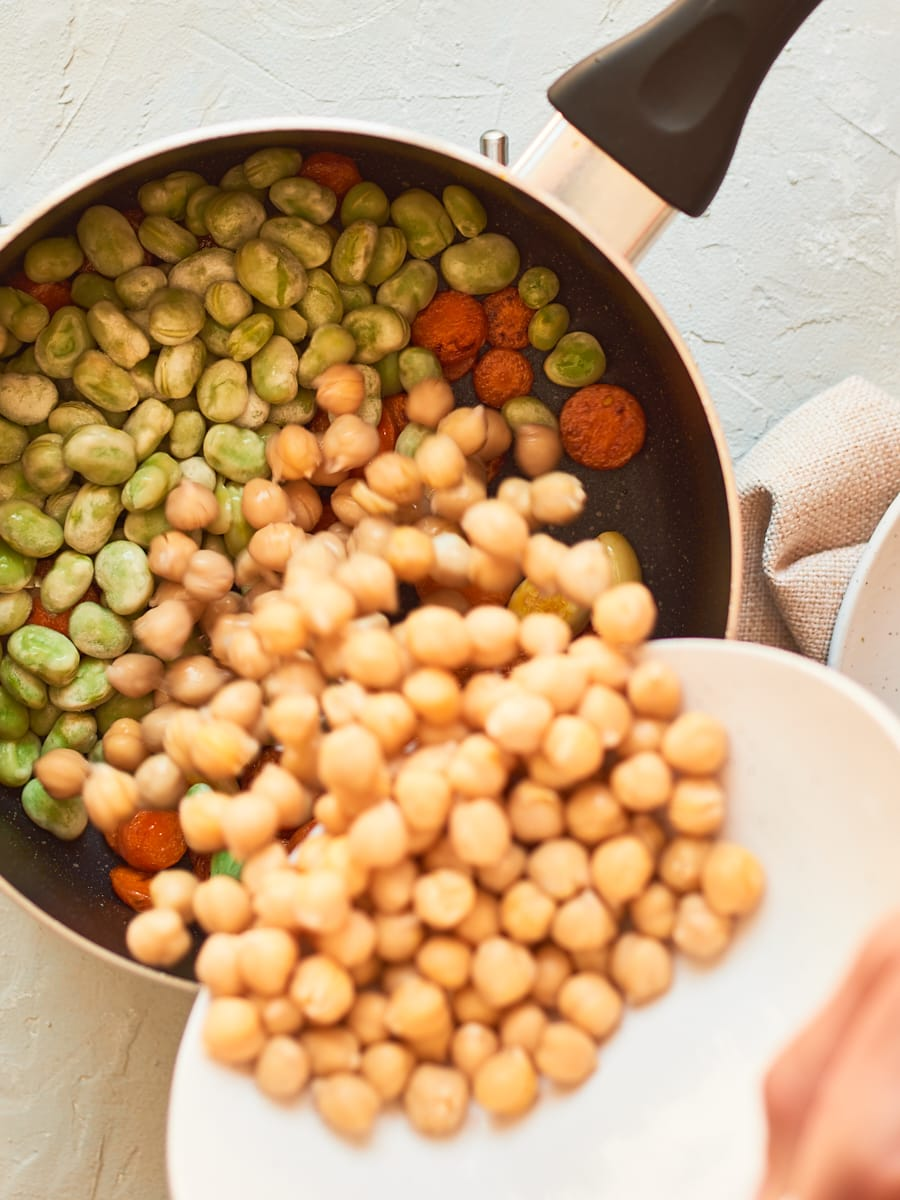 Adding chickpeas to pan