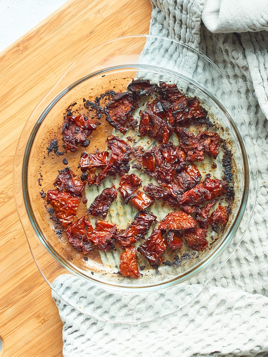 cooked sundried tomatoes in bowl