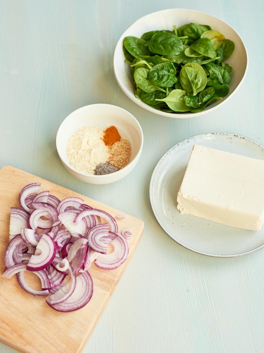 ingredients for silken tofu scramble