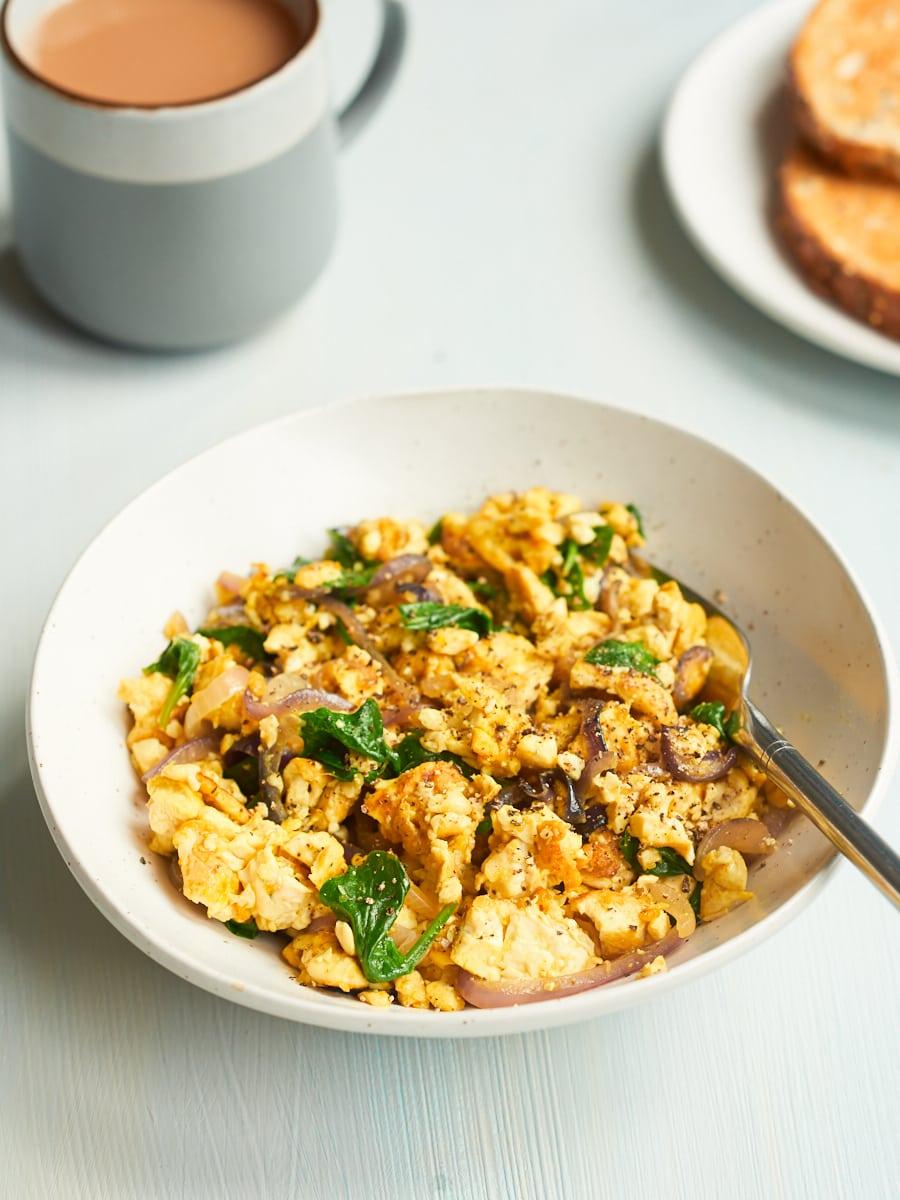 silken tofu scramble in bowl