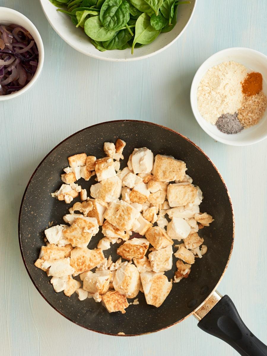 silken tofu browned off in pan