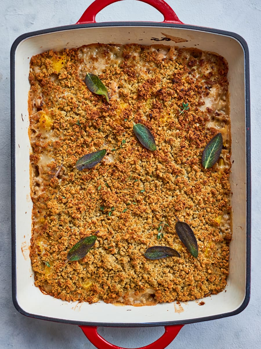 pumpkin casserole out of the oven