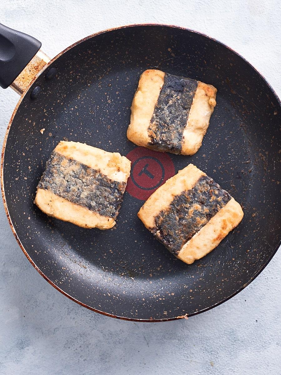drying the vegan fish fillets