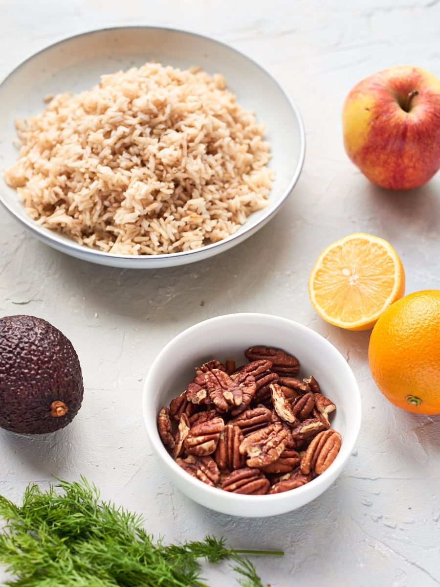 ingredients for vegan rice salad