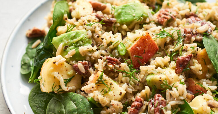 Vegan Rice Salad with Pecans and Apple