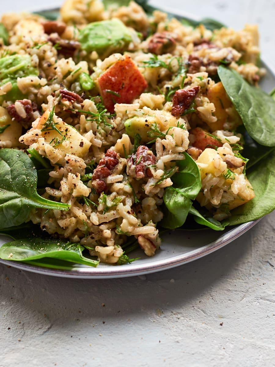 Vegan rice salad on plate