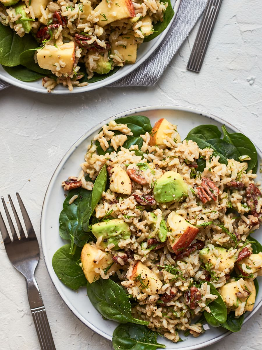 Two plates of vegan rice salad