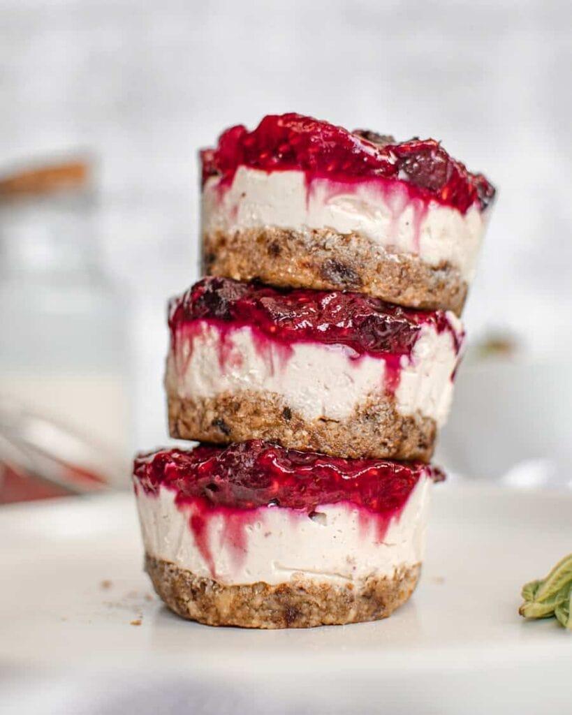 mini vegan cheesecakes in stack