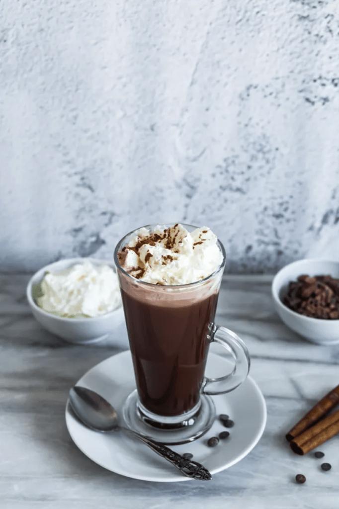 vegan hot chocolate with cream