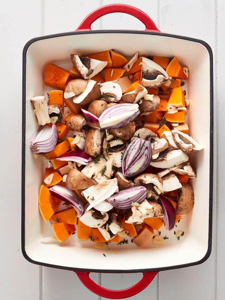 Ingredients for vegan tray bake in baking dish