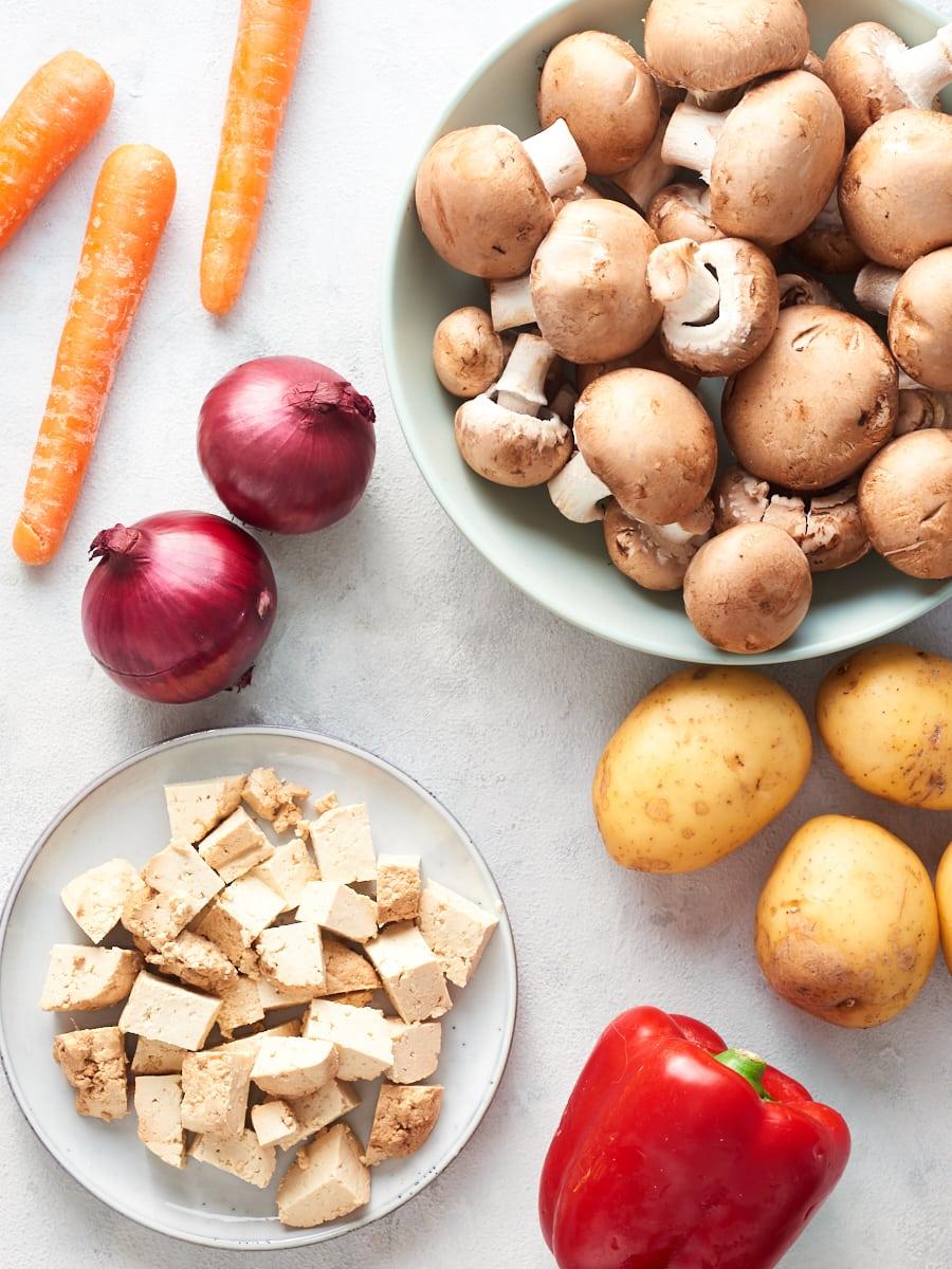 Ingredients for vegan goulash
