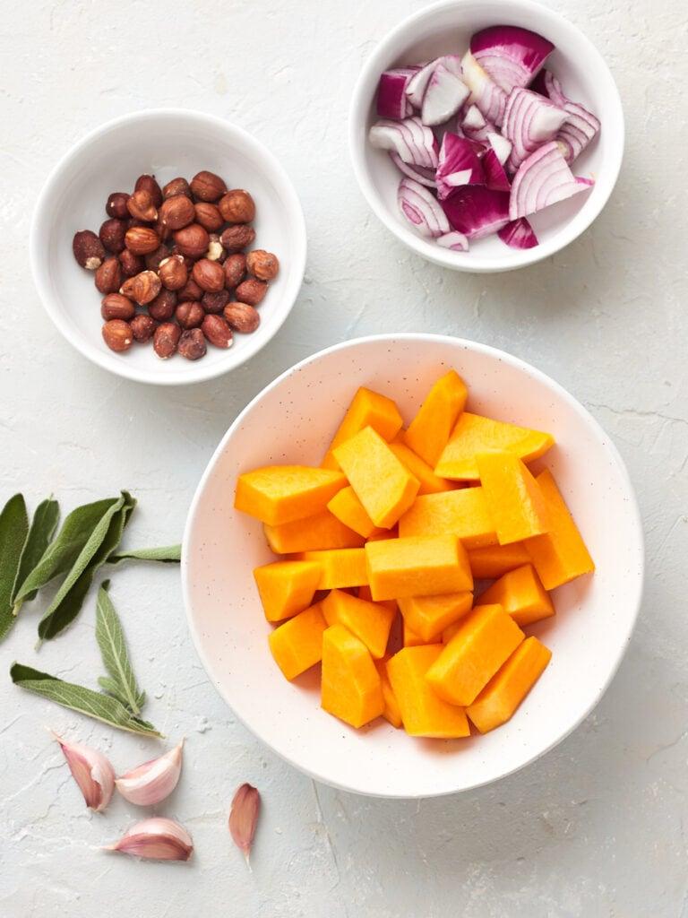 Ingredients for vegan butternut squash ravioli