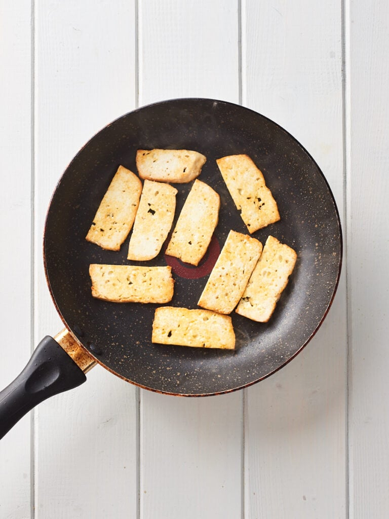 Frying smoked tofu in pan