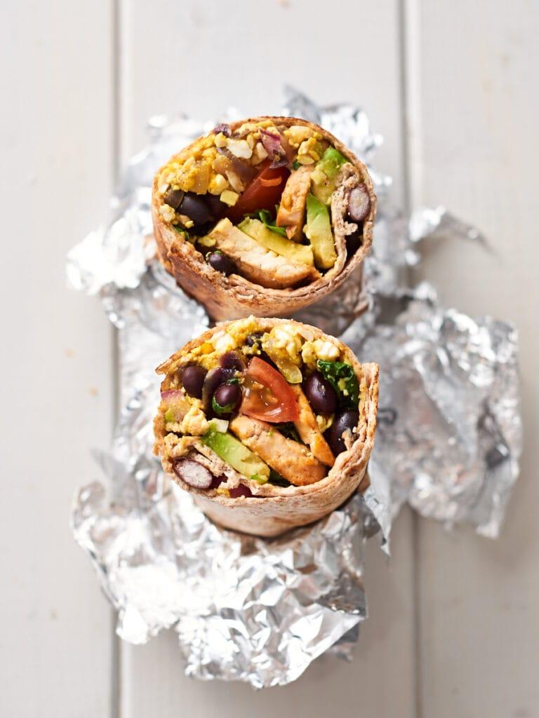 Tofu breakfast burritos wrapped in foil