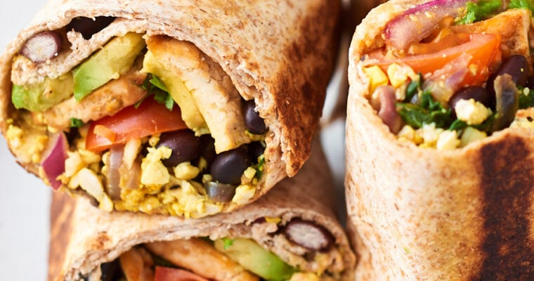 Plant Based Tofu Breakfast Burritos