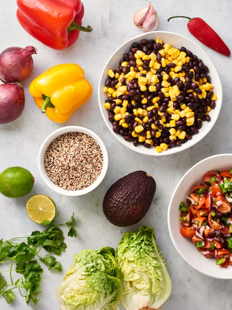 ingredients for mexican buddha bowl