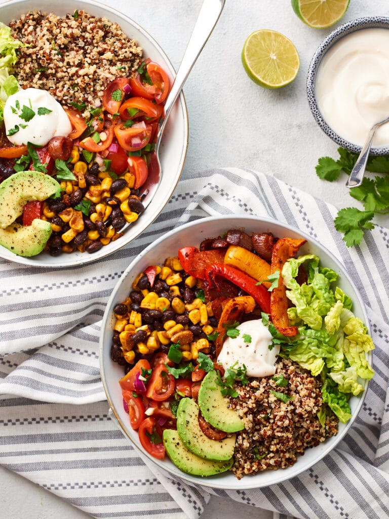 Overhead photo of two mexican buddha bowls