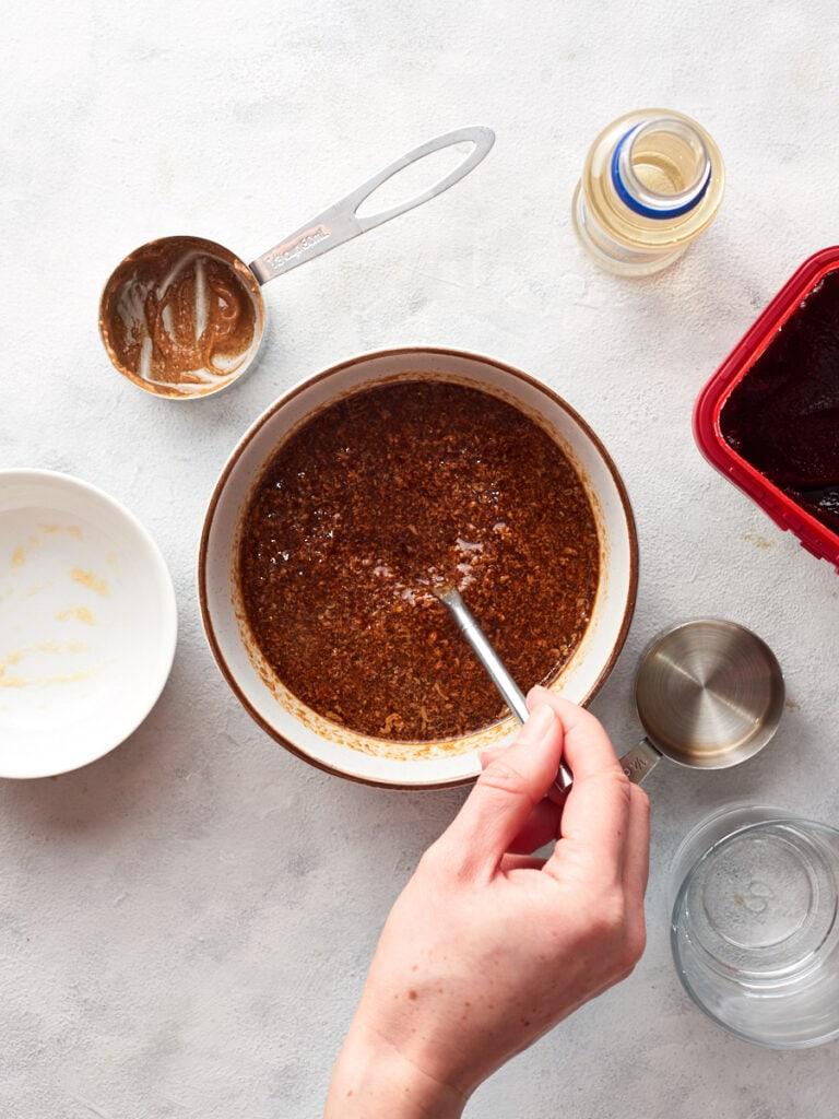Mixing the vegan peanut sauce