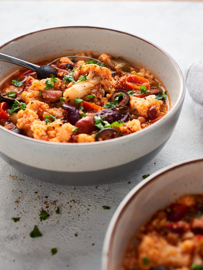 Easy vegan stew in a bowl with a spoon